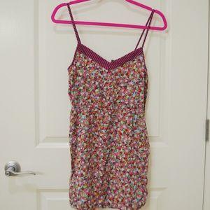 Floral & Stripes Mini Dress